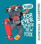 cool skater dog vector design   Shutterstock .eps vector #1316889980
