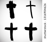 grunge religion cross . black... | Shutterstock .eps vector #1316904626