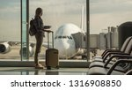 woman with boarding passes and... | Shutterstock . vector #1316908850