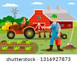 farm workers flat color...   Shutterstock .eps vector #1316927873