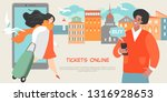 young people buy tickets online ... | Shutterstock .eps vector #1316928653