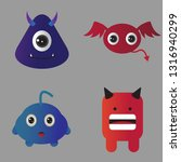 set of cute monster cartoon... | Shutterstock .eps vector #1316940299
