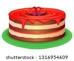 big cake with jam i berries....   Shutterstock .eps vector #1316954609