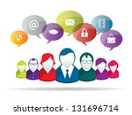 discussion and communication... | Shutterstock .eps vector #131696714