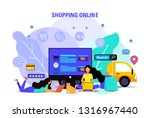 flat design shopping online... | Shutterstock .eps vector #1316967440