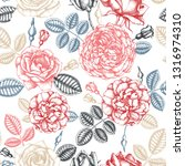 hand drawn roses. floral... | Shutterstock .eps vector #1316974310