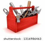 toolbox with tools. 3d... | Shutterstock . vector #1316986463