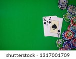 the poker hand with chips place ... | Shutterstock . vector #1317001709