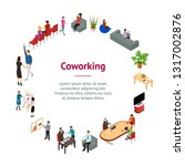 coworking people and equipment... | Shutterstock .eps vector #1317002876