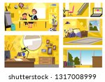 set of rooms background | Shutterstock .eps vector #1317008999