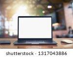 laptop computer blank white... | Shutterstock . vector #1317043886