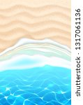seaside beach with azure waves... | Shutterstock .eps vector #1317061136
