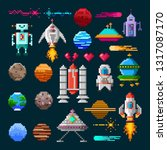 set of pixel art elements for...