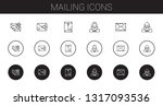 mailing icons set. collection...