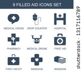9 aid icons. trendy aid icons... | Shutterstock .eps vector #1317116789
