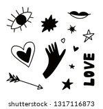 doodle hand drawn elements  eye ...   Shutterstock .eps vector #1317116873