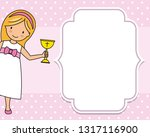 girl communion card. child with ...   Shutterstock .eps vector #1317116900