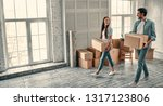 couple on moving day.... | Shutterstock . vector #1317123806