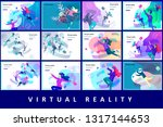 man and woman wearing virtual... | Shutterstock .eps vector #1317144653