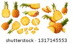 set with fresh ripe whole and... | Shutterstock . vector #1317145553