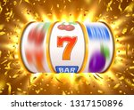 golden slot machine with flying ... | Shutterstock .eps vector #1317150896