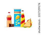 snack product set  fast food... | Shutterstock .eps vector #1317159176