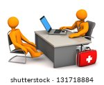 doctor consults the patient. 3d ... | Shutterstock . vector #131718884