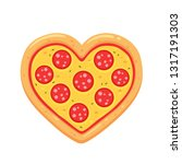 heart shaped pepperoni pizza... | Shutterstock .eps vector #1317191303
