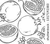 pomegranate vector pattern | Shutterstock .eps vector #1317192383