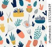 seamless pattern with garden... | Shutterstock .eps vector #1317218639