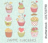 sweet cupcakes. colorful tasty... | Shutterstock .eps vector #131723750