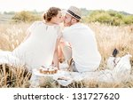 happy couple embracing and... | Shutterstock . vector #131727620