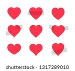 set of red heart shape. some... | Shutterstock . vector #1317289010
