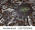 hand drawn saint patrick day... | Shutterstock .eps vector #1317293363