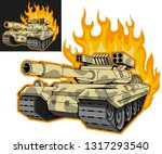battle tank on fire  variant on ... | Shutterstock .eps vector #1317293540