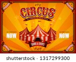vintage circus poster with big... | Shutterstock .eps vector #1317299300