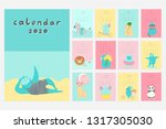 calendar 2020. cute monthly... | Shutterstock .eps vector #1317305030