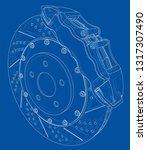 brake disc outline. vector... | Shutterstock .eps vector #1317307490