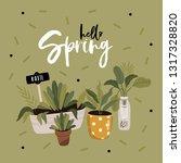 hello spring poster in vector.... | Shutterstock .eps vector #1317328820
