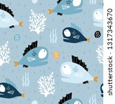 seamless pattern with creative... | Shutterstock .eps vector #1317343670