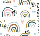 seamless childish pattern with... | Shutterstock .eps vector #1317345359