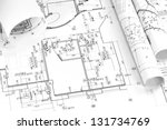 architecture plan and rolls of... | Shutterstock . vector #131734769