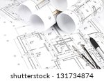 blueprint floor plans with... | Shutterstock . vector #131734874