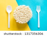 instant noodles with spoon and... | Shutterstock . vector #1317356306