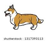welsh corgi in profile. | Shutterstock .eps vector #1317393113