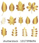 vector set with gold leaves... | Shutterstock .eps vector #1317398696