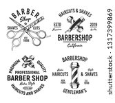 set of 4 barber shop logos ... | Shutterstock .eps vector #1317399869