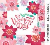 spring paper cut floral frame.... | Shutterstock .eps vector #1317433019