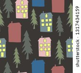 cute houses with trees seamless ... | Shutterstock .eps vector #1317434159