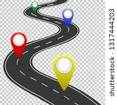 highway roadmap with pins. car...   Shutterstock .eps vector #1317444203